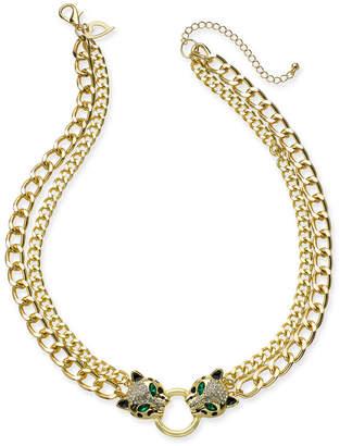 "Thalia Sodi Gold-Tone Crystal Leopard Head Double-Chain Necklace, 18"" + 3"" extender"