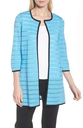 Ming Wang Sheer Stripe Long Jacket