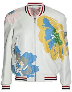 Thom Browne Appliquéd Textured-Leather Bomber Jacket