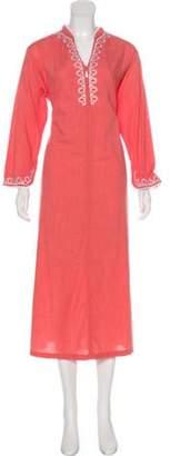 Oscar de la Renta Embroidered Midi Nightgown Coral Embroidered Midi Nightgown