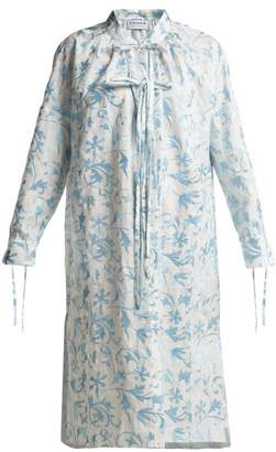 Osman Rosa Floral Embroidered Linen Dress - Womens - Blue Multi