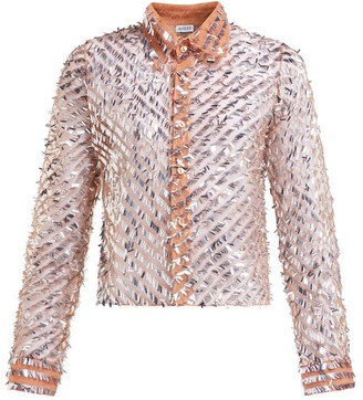 Ashish Striped Sequinned Shirt - Womens - Beige