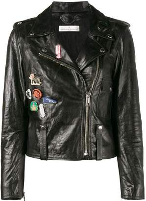 Golden Goose badge emblazoned leather jacket