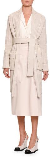 Bottega Veneta Ribbed Cotton 3/4-Length Cardigan, Light Gray