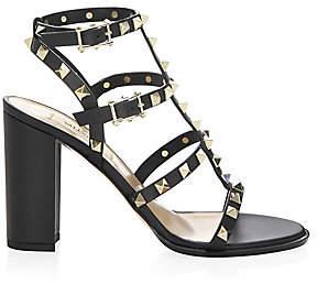 Valentino Women's Rockstud Leather T-Strap Block Heel Sandals