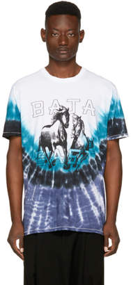 Baja East Blue and White Tie-Dye Horse Logo T-Shirt