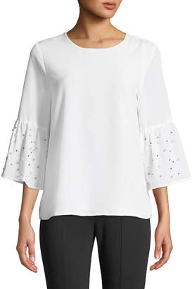 Iconic American Designer Studded Bell-Sleeve Crepe de Chine Blouse