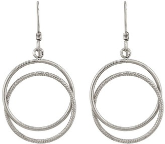 Sterling Silver Double Circle Dangle Earrings by Silver Style