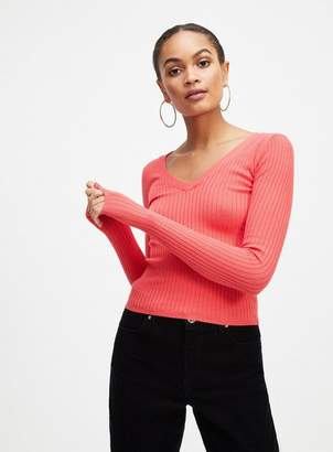 Miss Selfridge Red crop tie back knitted top