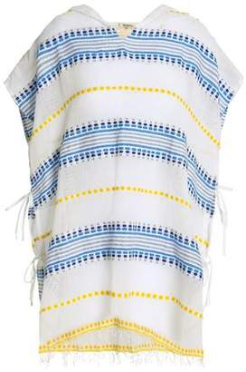 Lemlem Embroidered Striped Cotton-Blend Gauze Hooded Coverup