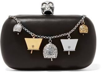 Embellished Leather Box Clutch - Black
