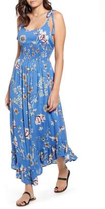 Angie Floral Tie Strap Maxi Dress