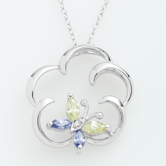 Jewelry For Trees Jewelry for Trees Platinum Over Silver Cubic Zirconia Butterfly Pendant