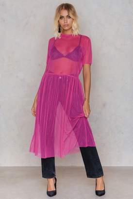 NA-KD Na Kd Dotted Mesh Midi Dress Strong pink