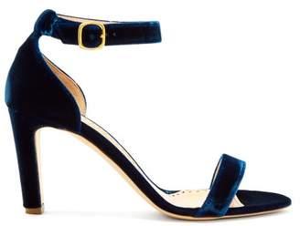 Rupert Sanderson Barri Block Heel Velvet Sandals - Womens - Navy