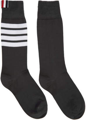 Thom Browne Grey Lightweight Cotton Mid-Calf Socks