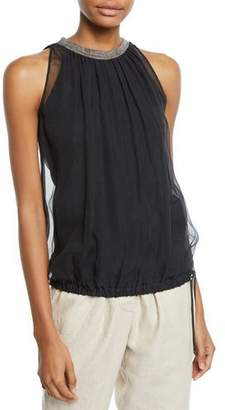 Brunello Cucinelli Sleeveless Crispy Silk Monili-Neck Blouse