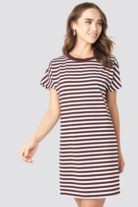 NA-KD Na Kd Striped Oversized T-shirt Dress Burgundy