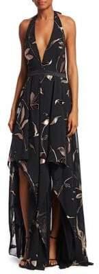 Halston Floral Burnout Halter Gown
