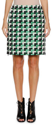 Emporio Armani A-Line Check-Jacquard Short Skirt w/ Side-Zip Detail
