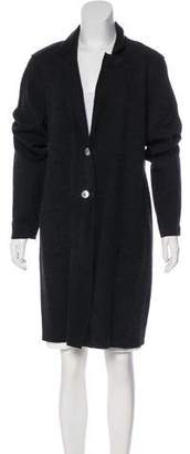 Eileen Fisher Suede-Trimmed Wool Coat w/ Tags