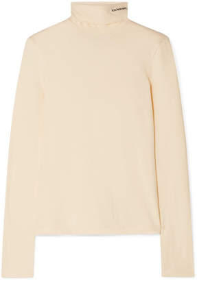 Calvin Klein Embroidered Cotton-jersey Turtleneck Top - Yellow