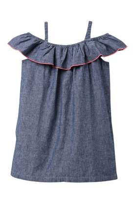 d64f1fbc79e Tea Collection Chambray Ruffle Neck Dress (Toddler