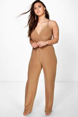 boohoo Plus Strappy Wrap Front Jumpsuit