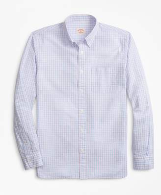 Brooks Brothers Gingham Seersucker Cotton Sport Shirt