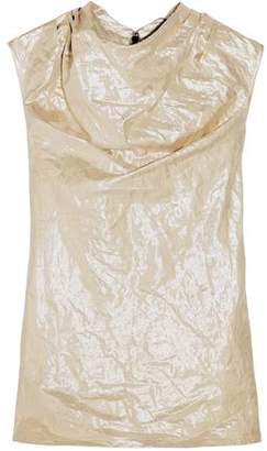 Rick Owens Draped Crinkled Cotton-Blend Lamé Top