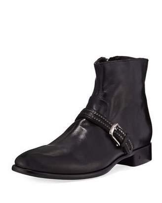 John Varvatos Eldridge Buckled-Vamp Leather Boot