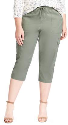 Chaps Plus Size Twill Pull-On Capris