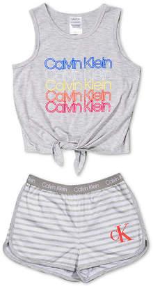 Calvin Klein Big Girls 2-Pc. Tie-Waist Pajama Set