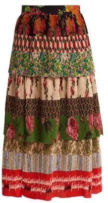 Gucci Tiered Patchwork Print Silk Plisse Midi Skirt - Womens - Multi