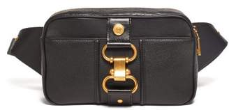 Versace Buckled Leather Belt Bag - Mens - Black