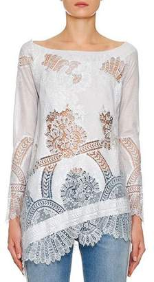 Ermanno Scervino Long-Sleeve Foiled Lace-Inset Tunic