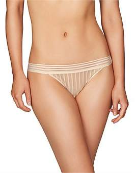 Heidi Klum Intimates Stripe Elastic & Stripe Mesh Bikini Brief