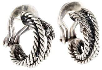 David Yurman Diamond X Crossover Earclips silver Diamond X Crossover Earclips