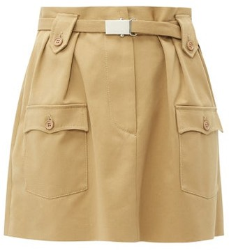 Miu Miu Belted Cotton Twill Mini Skirt - Womens - Beige