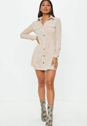 Missguided Nude Cord Skater Shirt Dress