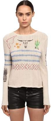 Saint Laurent Printed Cactus Cotton Knit Sweater