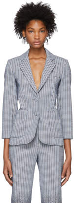 Erdem Blue and White Alvine Blazer
