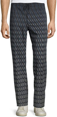 Valentino Men's Graphic-Print Wool Pants