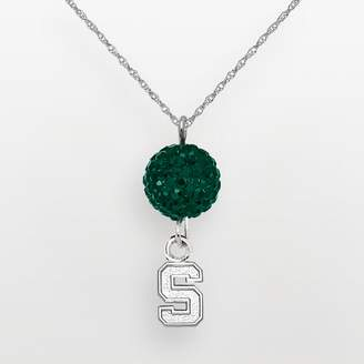 NCAA Logoart Michigan State Spartans Sterling Silver Crystal Logo Y Necklace
