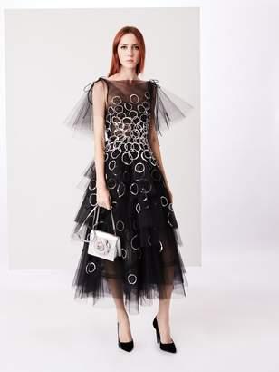 Oscar de la Renta Sequin-Embroidered Tiered Tulle Tea-Length Gown