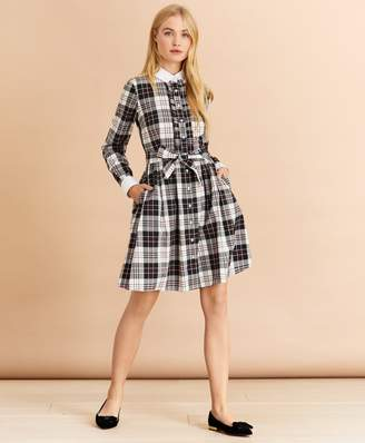 Brooks Brothers Contrast-Collar Plaid Cotton Flannel Shirt Dress