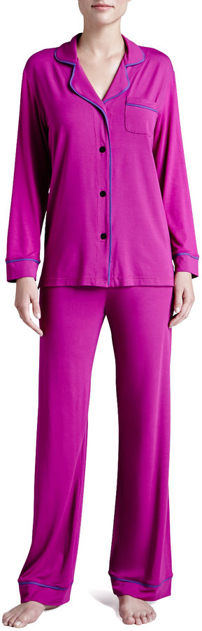 Cosabella Bella Piped Solid Pajamas, Jelly/Sweet Grape