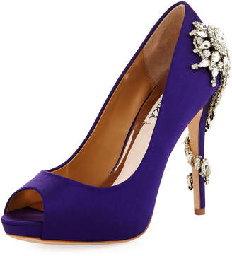Badgley Mischka Royal Satin Embellished Pumps