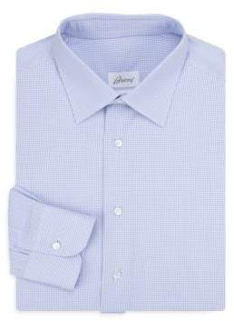 Brioni Regular-Fit Windowpane Cotton Dress Shirt