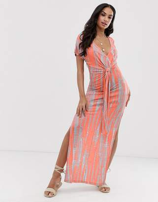2e58a25c48 Asos Design DESIGN jersey beach maxi dress in washed neon tie dye with  twist front detail